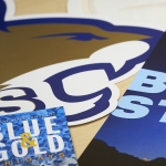 Image of an assortment of MSU-branded posters and signs.