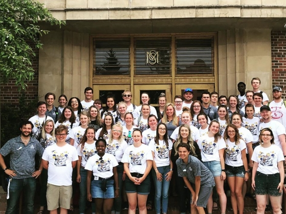 Student Orientation Leaders pose outside of the Student Union on Montana State University Campus |