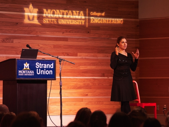 Anousheh Ansari at the 2017 Women in Engineering Dinner | MSU photo by Jesslyn Marie