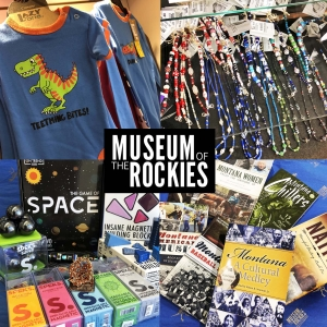 A collage of git items available in the museum store.
