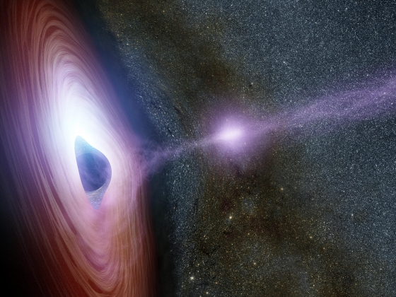Artist's rendering that shows a black hole depicted as a black ball in the middle of its swirling disk of accretion material. There is a purplish corona extending from it created from x-ray emissions.  | NASA/JPL-Caltech