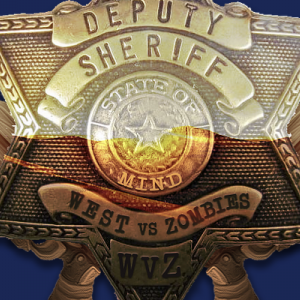Sheriff's badge image of the West vs. Zombies tournament logo.