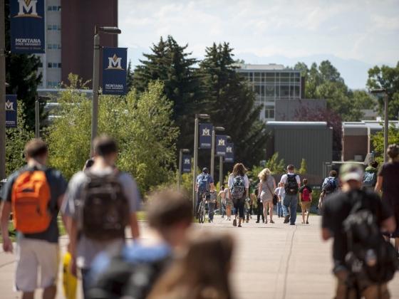 MSU students walk across campus.