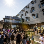 Students, faculty, guests and community members enter the new freshman residence hall, Yellowstone Hall, after a ribbon cutting ceremony at Montana State University in Bozeman, Mont., on Tuesday, Aug. 16, 2016. MSU Photo by Adrian Sanchez-Gonzalez