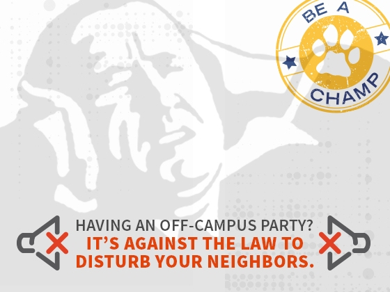 Having an off-campus party? It's against the law to disturb your neighbors |