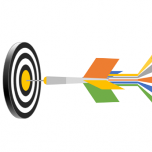 Arrow and bulls eye illustrating the steps for grant writing: identifying an opportunity, designing your project, writing your proposal, putting it all together and following up.