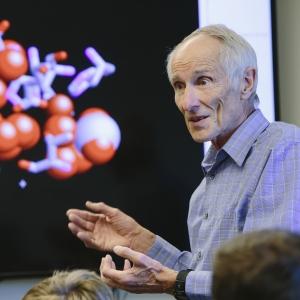Montana State University professor Pat Callis teaching a chemistry class.