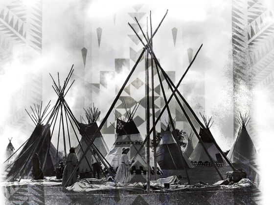 Collage of historic image of women erecting tepees in front of Indian blanket graphic. |