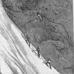 Black and white drawing of 19th century rock climbers