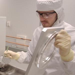 Erwin Dubar working in the Montana Microfabrication Facility | MSU photo by Kelly Gorham