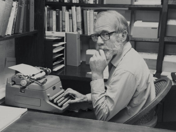 Ivan Doig sitting at his typewriter. | Photo courtesy Doig collection.