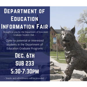Department of Education Information Fair. December 6th at 5:30pm