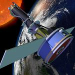 This is an artist�s conception of the IRIS satellite in orbit. (Image courtesy of NASA).