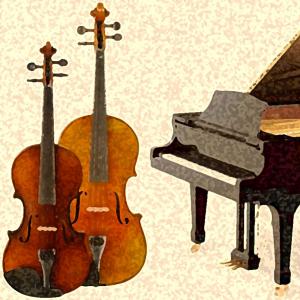 Artistic depiction of violin, viola, piano