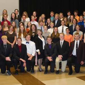 Montana State University students pose for a photo Wednesday, September 21, 2016 during an annual reception to honor recipients of various scholarships and awards.