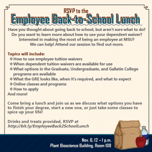 Employee back-to-school lunch information in image form, including RSVP info and other details listed in main description as well.