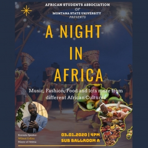 A poster for the A Night In Africa event