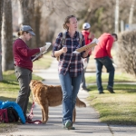 Amanda Kirkpatrick and Jennisse Schule, at left, were among a group of students from the Montana State University School of Architecture who fanned out into the nearby Bozeman neighborhood on Monday, April 4, 2016. The students took part in a project to collect information on the homes for a historic building survey that will be compiled by officials with the City of Bozeman. MSU Photo by Sepp Jannotta.