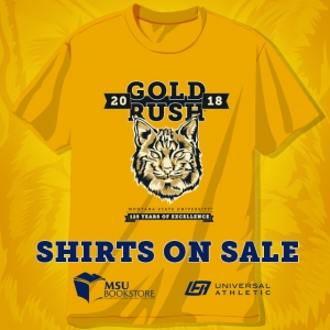 A photo of the 2018 Gold Rush T-shirt.