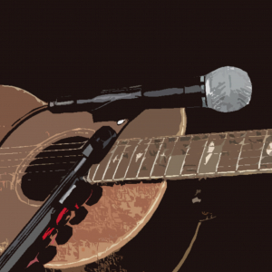 Artistic depiction of guitar and microphone