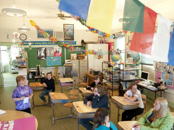 Wide angle photo of students in a colorfully decorated classroom. | MSU photo by Kelly Gorham