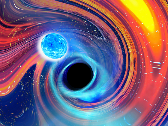 Graphic featuring a rainbow swirl of energy around a black hole, with a light blue neutron star orb approaching the center.   Image provided by Carl Knox, OzGrav, Swinburne University