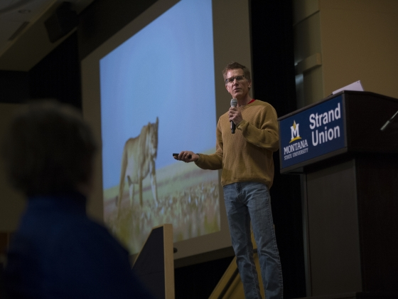Montana State University professor Scott Creel presents his work in Africa during the Innovation Road Show Saturday, February 17, 2018. | MSU photo by Kelly Gorham