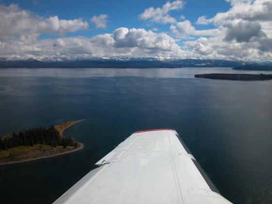 Photo of Yellowstone Lake taken from test plane in 2004 |