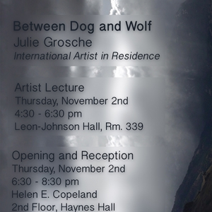 """Reception for """"Between Dog and Wolf""""  by Julie Grosche, the MSU School of Art International Artist-in-Residence, at the HECG November 2nd, 6:30 -8:30 in the Helen E. Copeland Gallery.  Artist lecture will precede the reception in 339 Leon Johnson"""