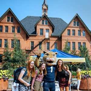 MSU mascot Champ poses with students in front of Montana Hall on the first day of classes.