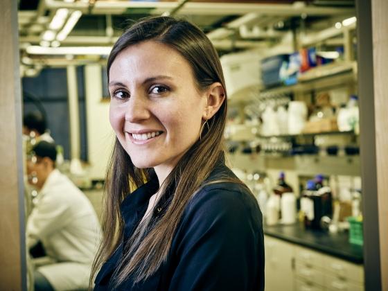 Portrait of Sharon Neufeldt near a lab | MSU Photo by Adrian Sanchez-Gonzalez