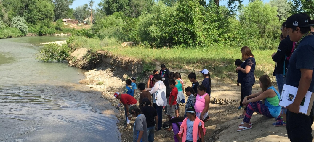Students at the Little Bighorn River