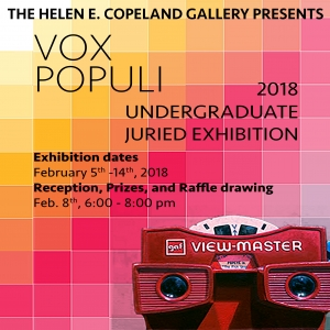 VOX POP reception and raffle this Thursday from 6-8 at the Helen E. Copeland Gallery