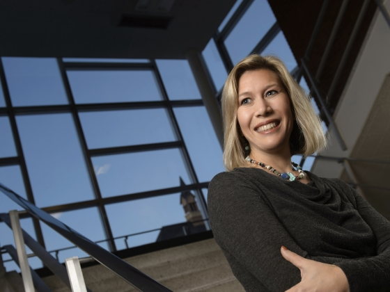 MSU professor Tricia Seifert posing in building stairwell. | MSU photo by Colter Peterson
