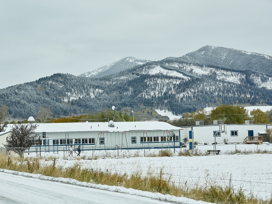 A scenic view of a rural school after some snow fall. | MSU Photo by Adrian Sanchez-Gonzalez
