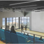 Inspiration Hall, a presentation hall seating 300 in Norm Asbjornson Hall, is depicted in this artist's rendering.