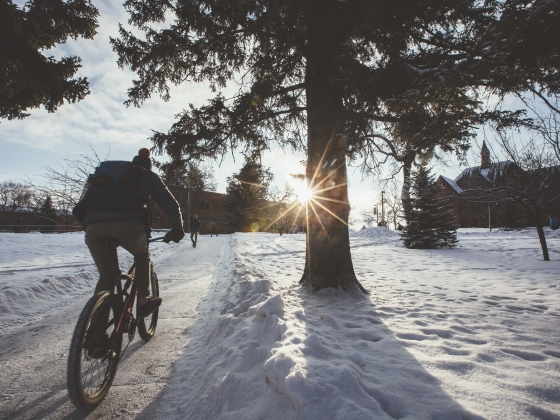 A student rides their bicycle towards the sun on a wintery morning | MSU Photo by Adrian Sanchez-Gonzalez