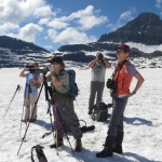 Citizen scientists use scopes to observe mountain goats and other wildlife activity in Glacier National Park in July 2014. Photo courtesy of Elizabeth Flesch