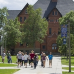 Montana State University Office of Admissions leads a campus tour in August, 2016.