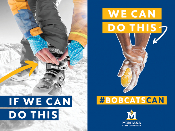 Image of a person lacing on ski boots on the left with a person washing their hands on the right. Text reads: if we can do this [indicating the boot lacing], we can do this [incicating the hand washing]. #bobcatscan | MSU