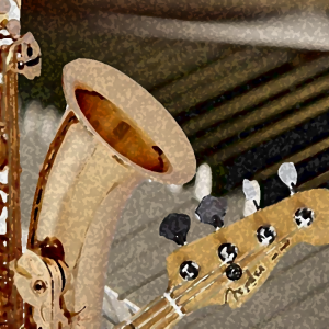 Artistic depiction of sax, bass, and keyboard