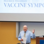 Dr. Mark Jutila, head of the MSU Department of Microbiology and Immunology, makes opening remarks at the Maurice Hilleman Vaccine Symposium Saturday, April 23, 2016 in Bozeman, Mont. MSU photo by Kelly Gorham