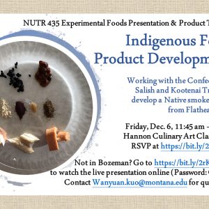 Flyer - Indigenous Food Product Development with the Confederated Salish and Kootenai Tribe