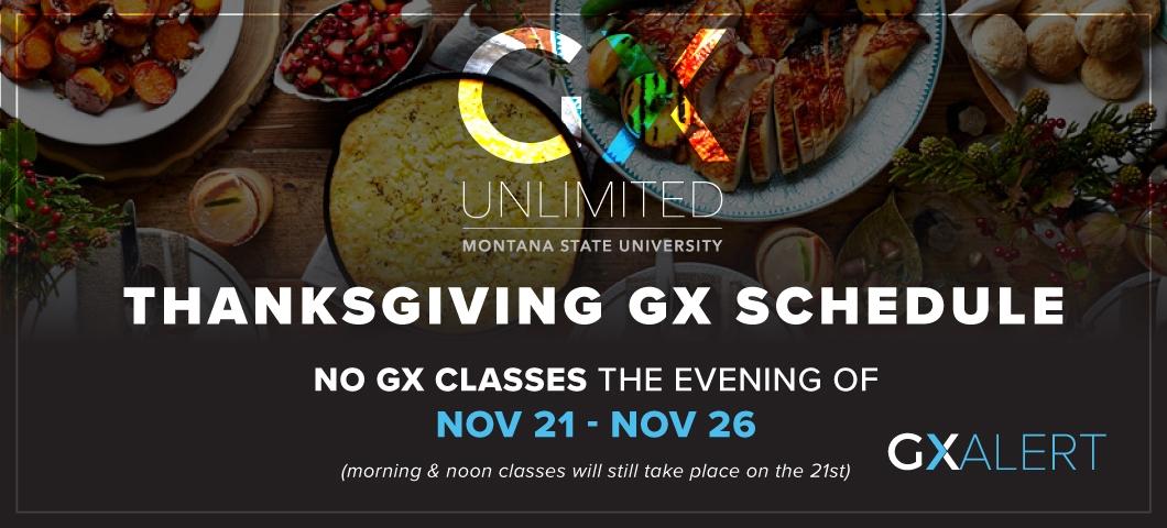 GX thanksgiving schedule
