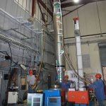 The sounding rocket is bolted down for a vibration test, in which the rocket is shaken violently to simulate the normal chaotic vibrations of a launch into space. The rocket and onboard MOSES-2 instrument passed with flying colors, clearing them for launch. Photo courtesy NASA.