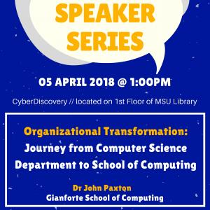 DISC Speaker Series Poster for John Paxton Talk