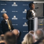 Montana State University student Bukola Saliu speaks to guests during the groundbreaking ceremony for the Norm Asbjornson Hall on Thursday, Sept. 22, at MSU in Bozeman, Mont. MSU Photo by Adrian Sanchez-Gonzalez