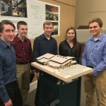 Montana State University architecture students Colin Tippett, left, Jake Ryan, Andrew Wagenblast, Emilee Williams and Shane Caye pose with a model of their design for the Belgrade Library. Photo courtesy Thomas McNab.