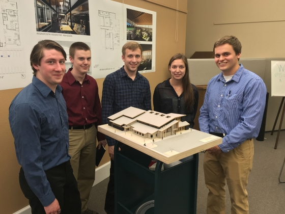 Montana State University architecture students Colin Tippett, left, Jake Ryan, Andrew Wagenblast, Emilee Williams and Shane Caye pose with a model of their design for the Belgrade Library. Photo courtesy Thomas McNab.   Photo courtesy Thomas McNab