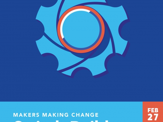 A blue and orange poster with a gear on it |